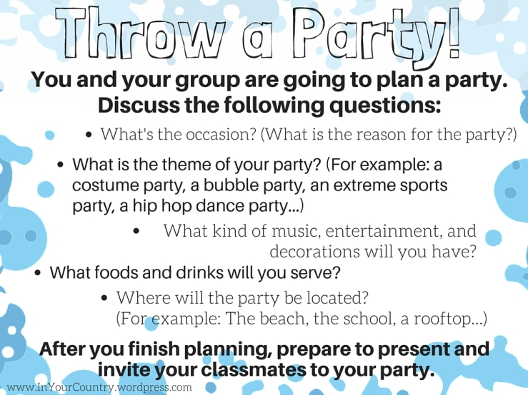 Throw a Party - A speaking activity for ESL Class - Great for present continuous tense